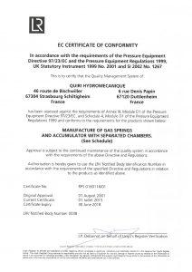 Certificat CE Module D1