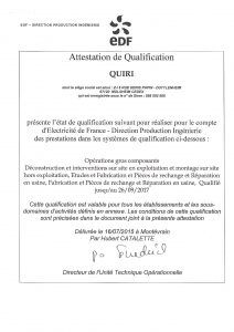 QHY - Qualification EDF - Expire 2017